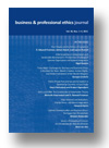 Cover of Business and Professional Ethics Journal