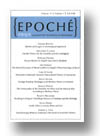 Cover of Epoché: A Journal for the History of Philosophy